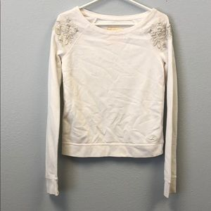 Hollister White Floral Embroidered Sweater